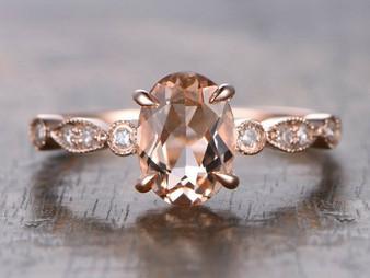 Oval Morganite Engagement Ring Pave Diamond Wedding 14K Rose Gold 6x8mm Art Deco