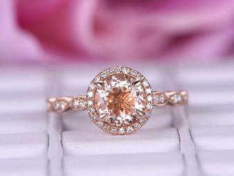Art Deco 7mm Round Morganite Engagement Ring Pave Diamond Wedding 14K Rose Gold
