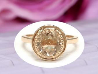 Bezel 8mm Round Morganite Engagement Ring 14K Rose Gold