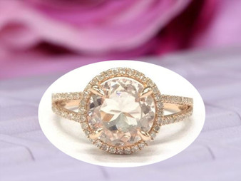 Split Shank 9mm Round Morganite Diamond Engagement Ring 14K Rose Gold
