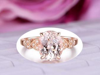 8x10mm Oval Morganite Engagement Ring 14K Rose Gold Heart Shank