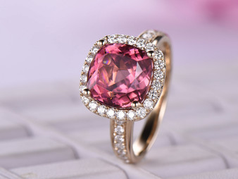 14K Yellow Gold 10mm Cushion Pink Tourmaline Engagement Ring Full Cut Diamond