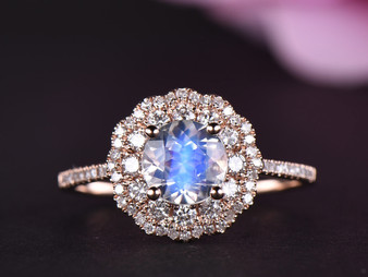 Round Moonstone Engagement Ring Full Cut Diamond Wedding Band 14k Rose Gold 6.5mm