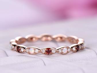 14K Rose Gold Opal/Garnet Diamond Wedding Band Art Deco Eternity Anniversary Ring