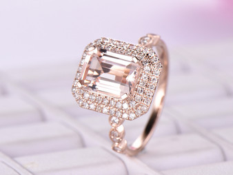 7x9mm Emerald Cut Morganite Cathedral Ring Diamond Art Deco Band 14K Rose Gold