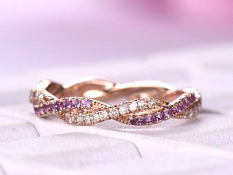 Amethyst Diamond Wedding Band Eternity Infinity Love Ring 14K Rose Gold