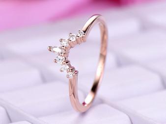 Tiara Wedding Ring Round/Marquise Diamond Band 14K Rose Gold