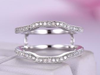 Diamond Ring Guard 14K White Gold Milgrain
