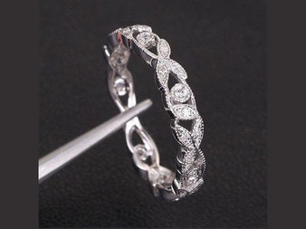 Eternity Vine Ring Diamond Wedding Band 14K White Gold