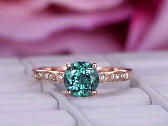 Round Alexandrite Engagement Ring Pave Diamond Band 14K Rose Gold 6.5mm