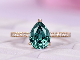 Pear Alexandrite Engagement Ring Pave Diamond Band 14K Yellow Gold 6x8mm