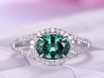 Oval Alexandrite Engagement Ring Diamond Weddng 14K White Gold 6x8mm,Split Shank