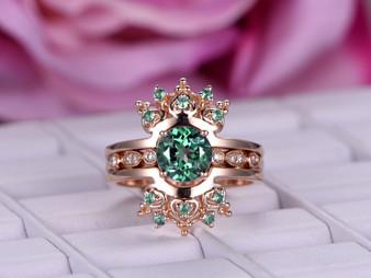 Tiara Ring Alexandrite Enhancer Bridal Set Round Alexandrite Engagement Ring 14K Rose Gold 6.5mm