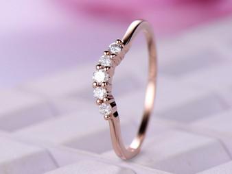 Diamond Wedding Band Hlaf Enternity Anniversary Ring 14K Rose Gold