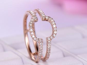 Diamond Wedding Ring Guard 14k Rose Gold