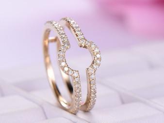 Diamond Wedding Ring Guard 14k Yellow Gold