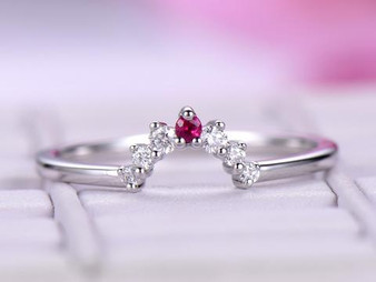 Graduated Round Diamond Ruby Tiara Wedding Ring 14K White Gold