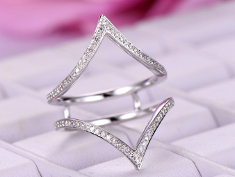 Diamond Chevron Ring Guard 14k White Gold symmetrical