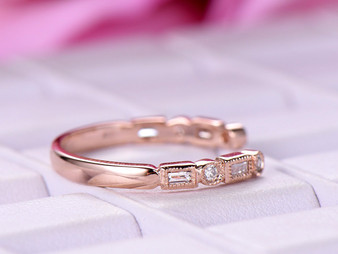 Open End Baguette Diamond Wedding Band Half Eternity Anniversary Ring 14K Rose Gold