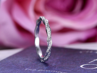 Diamond Wedding Band Eternity Anniversary Ring 14K White Gold