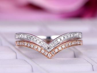 Stackable Chevrom Diamond Wedding Band Set Half Eternity Ring 14K Rose/White Gold