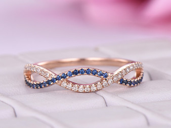 Sapphire / Diamond Wedding Band Half Eternity Infinity Love Ring 14K Rose Gold