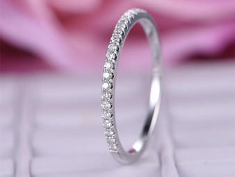 Diamond Wedding Band Half Eternity Anniversary Ring 14K White Gold