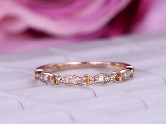 Champagne Diamond Wedding Band Half Eternity Art Deco Anniversary Ring 14K Rose Gold