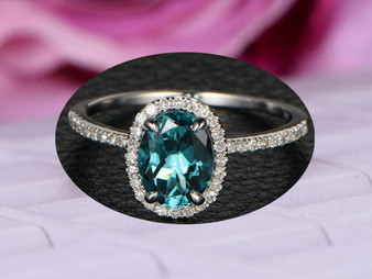 Oval Blue Tourmaline Engagement Ring Pave Diamond Wedding 14K White Gold 6x8mm