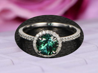 Round Blue Tourmaline Engagement Ring Pave Diamond Wedding 14K White Gold 7mm