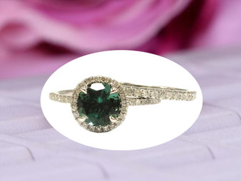 2pc Bridal Set,Round Green Tourmaline Engagement Ring Diamond Wedding 14K White Gold 7mm