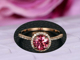 Round Pink Tourmaline Engagement Ring Pave Diamond Wedding 14K Rose Gold 7mm