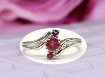 Round Red Tourmaline Engagement Ring Ruby&Amethyst Wedding 14K White Gold, 4mm, 2mm