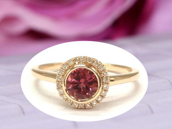 Round Tourmaline Engagement Ring Pave Diamond Wedding 14K Rose Gold 6.5mm Bezel