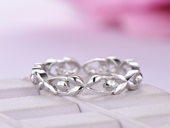 Plain 14K White Gold Wedding Band Eternity Vine Ring