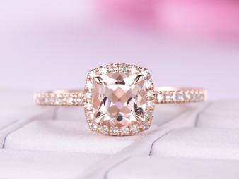 Cushion Morganite Engagement Ring Diamond Halo 14K Rose Gold 6mm