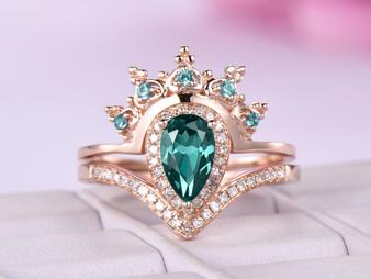 2pc Bridal Set Tiara Pear Alexandrite Engagement Ring 14K Rose Gold 5x8mm