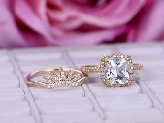 2pc Bridal Set Cushion Aquamarine Engagement Ring Diamond Tiara Wedding 14K Yellow Gold 8mm