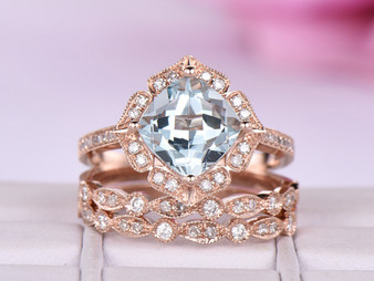 3pc Bridal Set, 8mm Cushion Aquamarine Ring Art Deco Diamond Wedding Band 14K Rose Gold Vintage Floral Halo