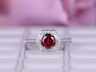 Hexagon Halo Round Ruby Engagement Ring Diamond Wedding 14k White Gold 6mm