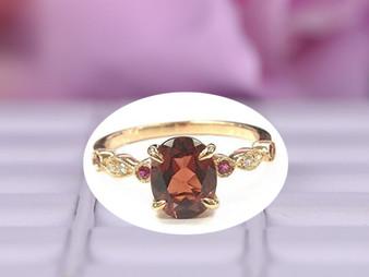 Oval Garnet Engagement Ring Pave Diamond Ruby Wedding 14K Rose Gold,6x8mm, Art Deco