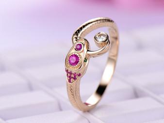 Moissanite / Ruby / Tsavorite Snake Ring 14K Yellow Gold