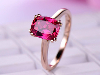 Double Prong Cushion Ruby Engagement Ring 14K Rose Gold 7x9mm