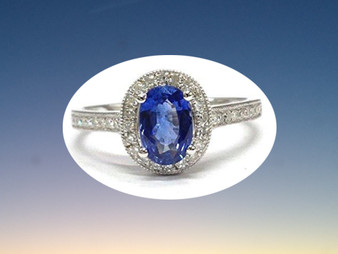 Oval Tanzanite Engagement Ring Pave Diamond Wedding 14K White Gold,6x8mm,Milgrain