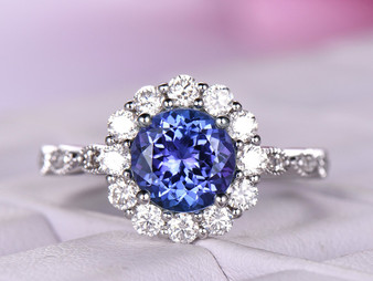 Round Tanzanite Engagement Ring Moissanite Halo Wedding 14K White Gold 7mm