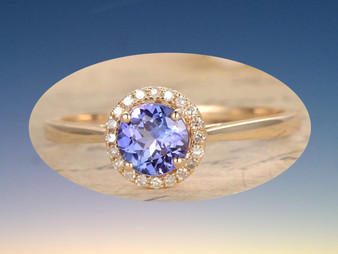 Round Tanzanite Engagement Ring Pave Diamond Wedding 14K Yellow Gold 6.5mm