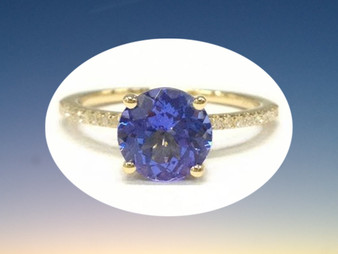Round Tanzanite Engagement Ring Pave Diamond Wedding 14K Yellow Gold 7mm