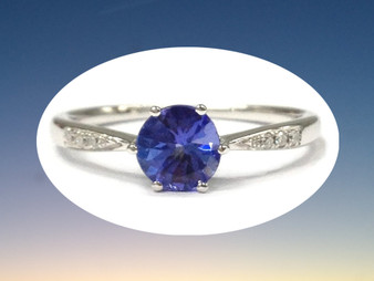 Round Tanzanite Engagement Ring Pave VS Diamond Wedding 14K White Gold 7mm