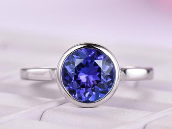 Round VVS Tanzanite Engagement Ring 14K White Gold 8.5mm