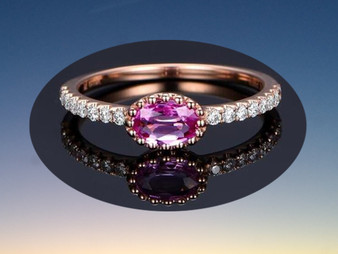 Oval Pink Sapphire Engagement Ring Pave Diamond Wedding 14K Rose Gold 4x6mm